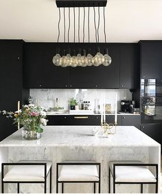 This lighting is perfect for a modern kitchen. This lighting is perfect for a modern kitchen. This lighting is perfect for a modern kitchen. This lighting is perfect for a modern kitchen. Black Kitchen Cabinets, Black Kitchens, Luxury Kitchens, Home Kitchens, White Cabinets, Kitchen Black, French Kitchens, Kitchen Pantry, Marble Kitchen Countertops