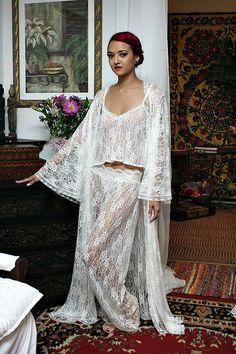 Fairy Lace Bridal Pajama Off White Ivory Lace Wedding Lingerie Bridal Sleepwear Sarafina Dreams 2014