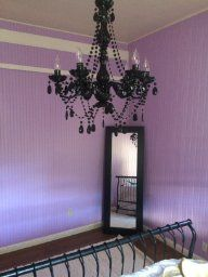 Black and Purple with Gypsy Color Black Crystal Chandelier Large