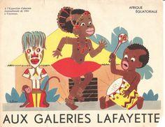 """""""Aux Galeries Lafayette : A l'Exposition Coloniale Internationale de 1931 à Vincennes"""", Paris, chromolithographie publicitaire (série sur l'ensemble des pavillons coloniaux), 1931."""