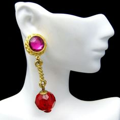 MOMS LOVE CHUNKY LUCITE! Gorgeous vintage chunky pink and red Lucite post earrings listed now in my Etsy store. :) Vintage Pink Red Lucite Faux Crystals Dangle Pierced Earrings Chunky Beads. $39.95 from https://www.etsy.com/shop/MyClassicJewelry