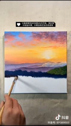 Amazing example of landscape acrylic painting. Come for more diy painting inspiration. paintings videos Easy acrylic art tutorial for beginners Easy Canvas Art, Small Canvas Art, Easy Canvas Painting, Mini Canvas Art, Diy Painting, Easy Art, Painting Videos, Painting Lessons, Easy Paintings