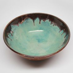 Turquiose and Tan Handmade Wheel Thrown Bowl by MountainMudBabies, $35.00