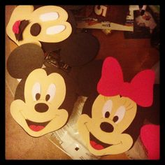 Mickey and Minnie Mouse! Lots of cutting for the teacher but a adorable craft for kids! They loved making them! Did this craft with 2 year olds.