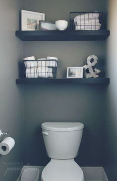 Looking for half bathroom ideas? Take a look at our pick of the best half bathroom design ideas to inspire you before you start redecorating. Half bath decor, Half bathroom remodel, Small guest bathrooms and Small half baths Bathroom Organization, Bathroom Storage, Organization Ideas, Storage Ideas, Bathroom Shelves, Toilet Shelves, Budget Storage, Shelf Ideas, Toilet Paper Storage