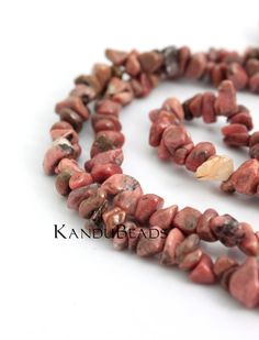 Rhodonite Pink peachy brown  Small Chip Beads  510mm by KanduBeads, $2.40