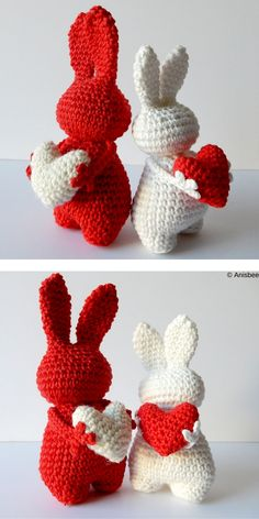Valentine's Day is getting closer and closer, so it's time to create something beautiful with a love motif! These Valentine's Day Amigurumi Ideas will be Holiday Crochet, Easter Crochet, Cute Crochet, Crochet Crafts, Crochet Projects, Simple Crochet, Crochet Rope, Valentine Crafts, Valentines