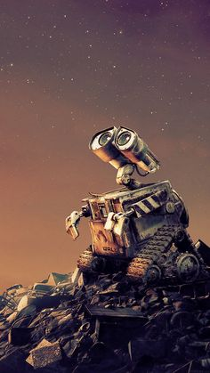 Stargazing Wall-E by lonelytourists Iphone 6 Plus Wallpaper, Iphone 7 Wallpapers, Disney Phone Wallpaper, Movie Wallpapers, Pretty Wallpapers, Cartoon Wallpaper, Wall E Disney, Disney Art, Walle Y Eva