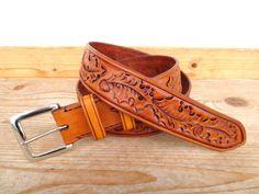 Western Gürtel aus echtem Leder mit von AlpineLeatherworx auf Etsy