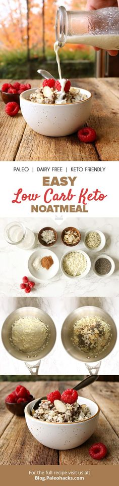 Cauliflower rice simmers in rich coconut milk with chia and hemp seeds for a bowl of warm, cozy and keto-friendly oatmeal that satisfies. Low Carb Breakfast, Breakfast Bowls, Best Breakfast, Breakfast Ideas, Breakfast Recipes, Paleo Dairy, Dairy Free, Healthy Recipes, Low Carb Recipes