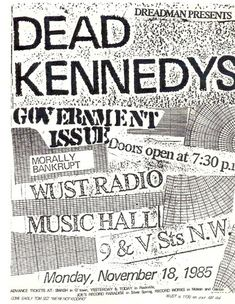 Dead Kennedys, Government Issue punk hardcore flyer