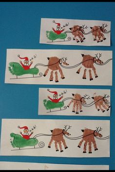 Santa sled and reindeer.  Hand and feet prints