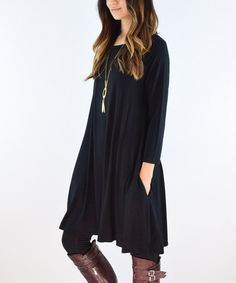 Another great find on #zulily! Black Pocket A-Line Tunic by éloges #zulilyfinds