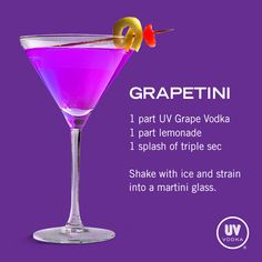 UV Vodka Recipe: Grapetini Umm, I have no idea if this is good but sounds interesting.