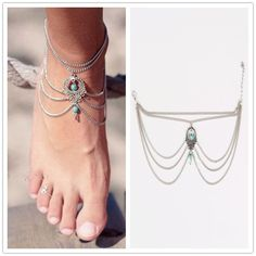 1PC Hot Sale Summer Ankle Bracelet Bohemian Foot Jewelry Turquoise Turquoise Anklets for Women