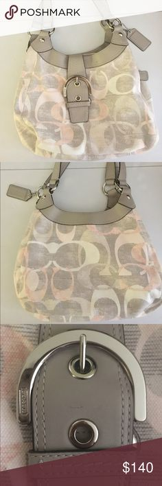 Coach - SOHO Optic Linen Handbag Tote Coach - Linen Signature Buckle Shoulder Bag in EXCELLENT condition, used less than a handful of times. NO TEARS, NO STAINS, LIKE NEW! Coach Bags Shoulder Bags
