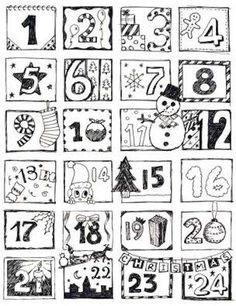 Calendari dell'Avvento da stampare - Calendario dell'Avvento da stampare e colorare