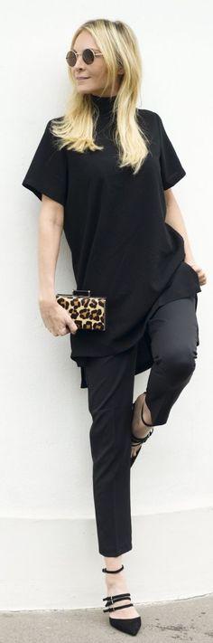 Pop Of Leopard Black Outfit