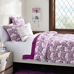 Gemma Floral Reversible Super Pouf Comforter + Sham, Plum #pbteen