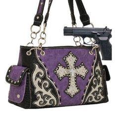 Handbags, Bling & More! Purple Studded Cross Conceal and Carry Purse : Conceal and Carry Purses
