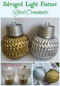 Sadie Seasongoods: Salvaged light fixture vintage mercury glass Christmas ornaments for the yard