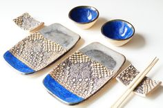 Ceramic Sushi Serving Set Set for Two Rustic Sushi Set by bemika