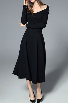 Blueoxy Black Long Sleeve Off The Shoulder Dress | Midi Dresses at DEZZAL