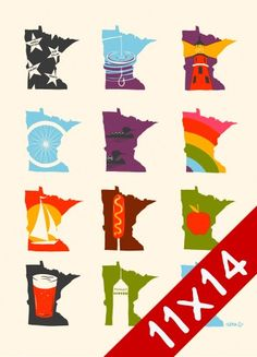 Featuring 12 different depictions of the state of Minnesota, this print from Adam Turman showcases everything that makes Minnesota so great. This print makes a great gift for any MN native or transplant. Screen Printed on cover stock. Minnesota State Fair, Minnesota Home, Feeling Minnesota, Twin Cities, North Shore, I Fall, Minneapolis, Screen Printing, Art Prints