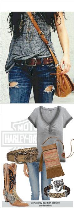HARLEY-DAVIDSON STYLE | HARLEY-DAVIDSON OUTFIT | HARLEY-DAVIDSON LOOK |HARLEY-DAVIDSON COWBOY | camiseta harley-davidson, cinturon harley-davidson, | bolso plata de palo, anillo PLATA DE PALO pulsera plata de palo, | BOTAS SENDRA