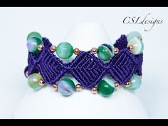 Beaded diamonds macrame bracelet - YouTube
