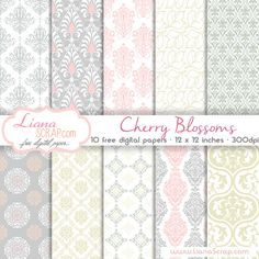 Free digital paper pack – Cherry Blossoms Set