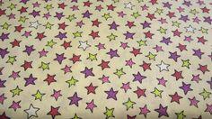 Stoff Sterne - Stoff ♥bunte Sterne♥ auf hellbeige - ein Designerstück von kreawusel-aufgehuebscht bei DaWanda
