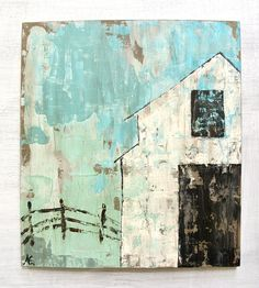 """White Barn Original Painting on Wood.  Titled: """"Keep Life Simple"""" 16 by 18 Inches"""