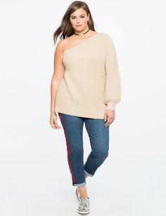 One Shoulder Sweater   Women's Plus Size Tops   ELOQUII