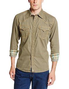 Wrangler Mens 20X Collection Snaps Shirt, Brown/Tan/Seafoam, Medium