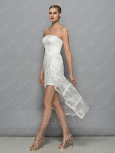Buy Lace Asymmetry Hem Strapless Column Sleeveless Cocktail Dress  Online, Dresswe.Com offer high quality fashion,Price: USD$97.79