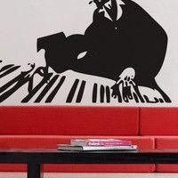 Piano Man  - Wall Decal Vinyl Decor Art Sticker Removable Mural Modern Music