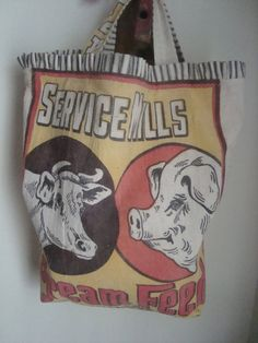 vintage feed sack tote  Service Mills CREAM FEED  by ginnymae, $55.00