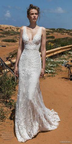 limor rosen 2018 bridal sleeveless deep v neckline full embellishment elegant sheath wedding dress open v back chapel train (cameron) mv -- Limor Rosen 2018 Wedding Dresses