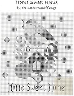 ru / Фото - The Goode Huswife - Home Sweet Home - hippiegirl Geek Cross Stitch, Cross Stitch House, Cross Stitch Bird, Cross Stitch Alphabet, Cross Stitch Samplers, Cross Stitch Animals, Cross Stitch Charts, Cross Stitch Designs, Cross Stitching