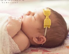 Mini Wool Felt Bow Headband in Light Mustard - Newborn Baby to Adult - Hair Bows