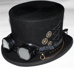 STEAMPUNK VICTORIAN GOTHIC Genuine Wool Mens MAD HATTER TOP HAT with GOGGLES