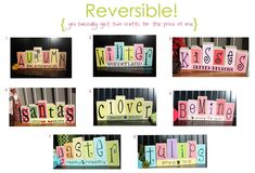 reversible block letter crafts. this site is wonderful. has tons of vinyl and wood crafts at great prices