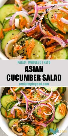 A simple and flavorful summer salad, this Asian cucumber salad is THE easy side dish for your next BBQ! A healthy Paleo, Whole30 + Keto cucumber salad recipe with a light and easy sauce. No mayo, fresh and low-carb! | realsimplegood.com #Asian #fresh #healthy #easy #keto Paleo Side Dishes, Side Dishes For Bbq, Food Dishes, Sides For Bbq, Asian Side Dishes, Summer Side Dishes, Whole30, Asian Cucumber Salad, Recipe For Cucumber Salad