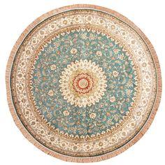 Herat Oriental Indo Hand-knotted Kashmiri Teal/ Ivory Silk Round Rug (8' x 8')