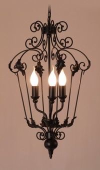 French Provincial Cage Lantern Black 3 Lights