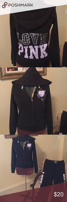 Victoria Secret Pink- Black Hoodie Love Pink Pink Hoodie -Love Pink in silver and light purple.  Preloved and used. Offers welcome. Pet friendly home. PINK Victoria's Secret Tops Sweatshirts & Hoodies