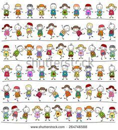 cute kids pattern, child like style drawing