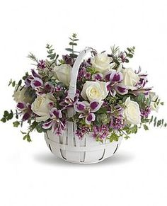 Same day flower delivery in Westchester, NY and Fairfield, CT. Order beautiful flowers for any occasion. Purple Flower Arrangements, Creative Flower Arrangements, Cemetery Flowers, Deco Floral, Flower Boxes, Basket Of Flowers, Flower Delivery, Spring Flowers, Easter Flowers