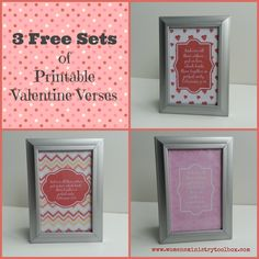 """3 Free Sets of Printable Valentine Verses - These can do double duty as décor for your event and then give them away at the end as door prizes! Perfect for a Sweetheart Banquet or Women's Ministry Event. Maybe you'd like to give out """"happies"""" to your Women's Ministry team next month. I've created 3 different sets of …"""